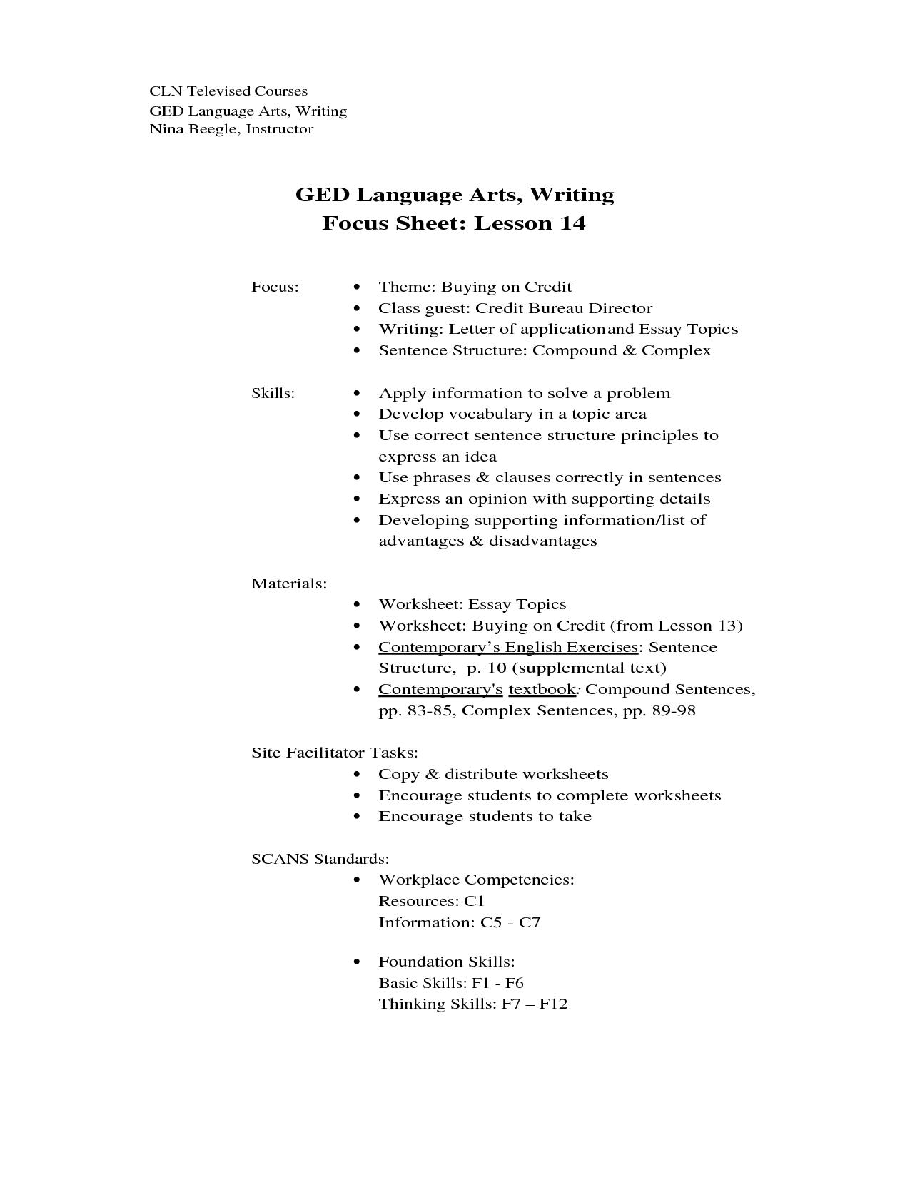 Ged Essays