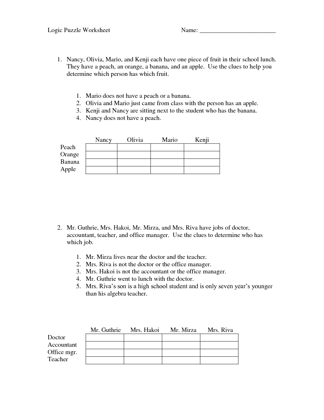 Math Worksheet High School Critical Thinking