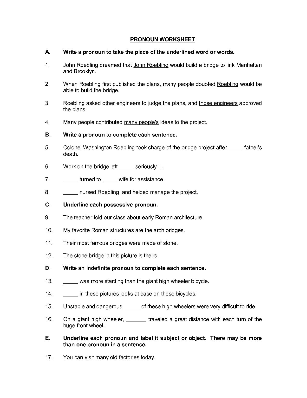 18 Best Images Of Esl Subject Pronouns Worksheets