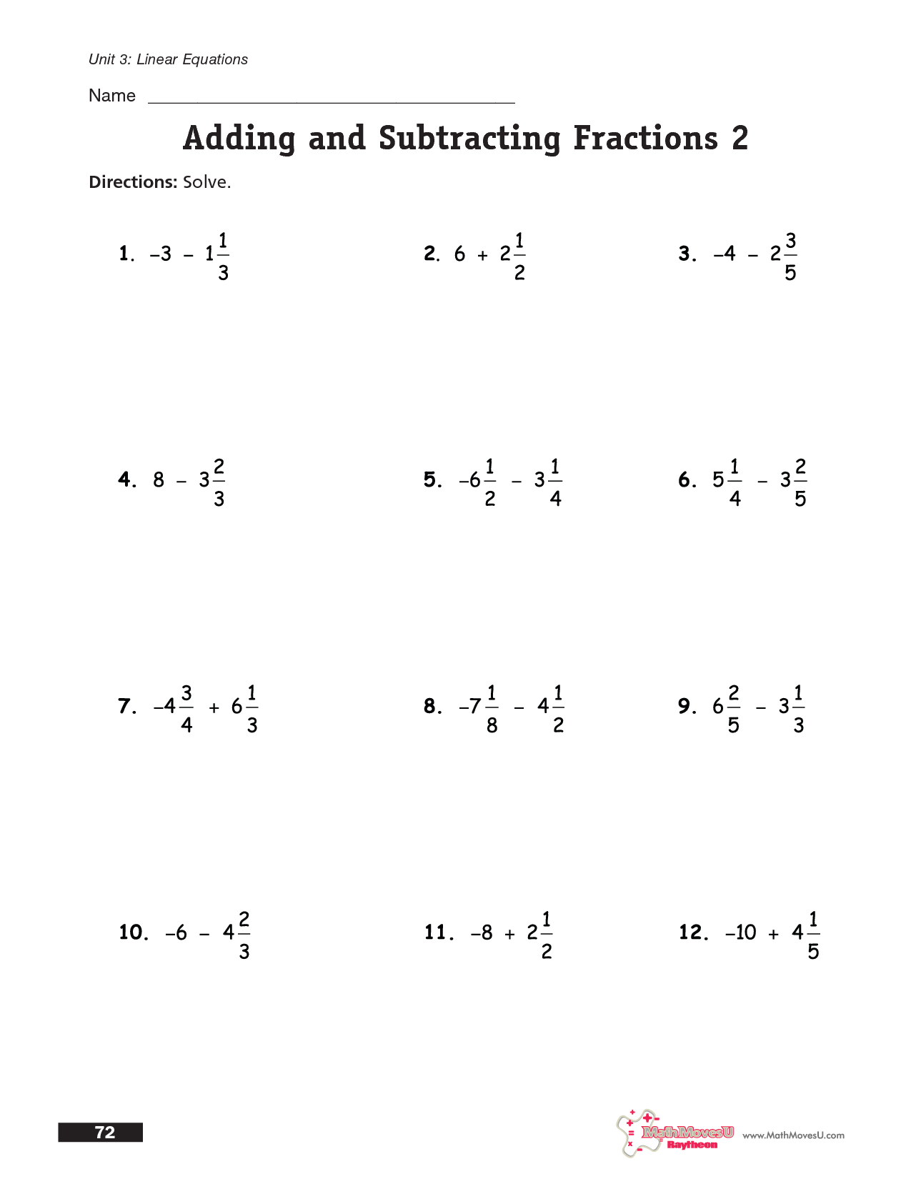 14 Best Images Of Adding And Subtracting Fractions Worksheets
