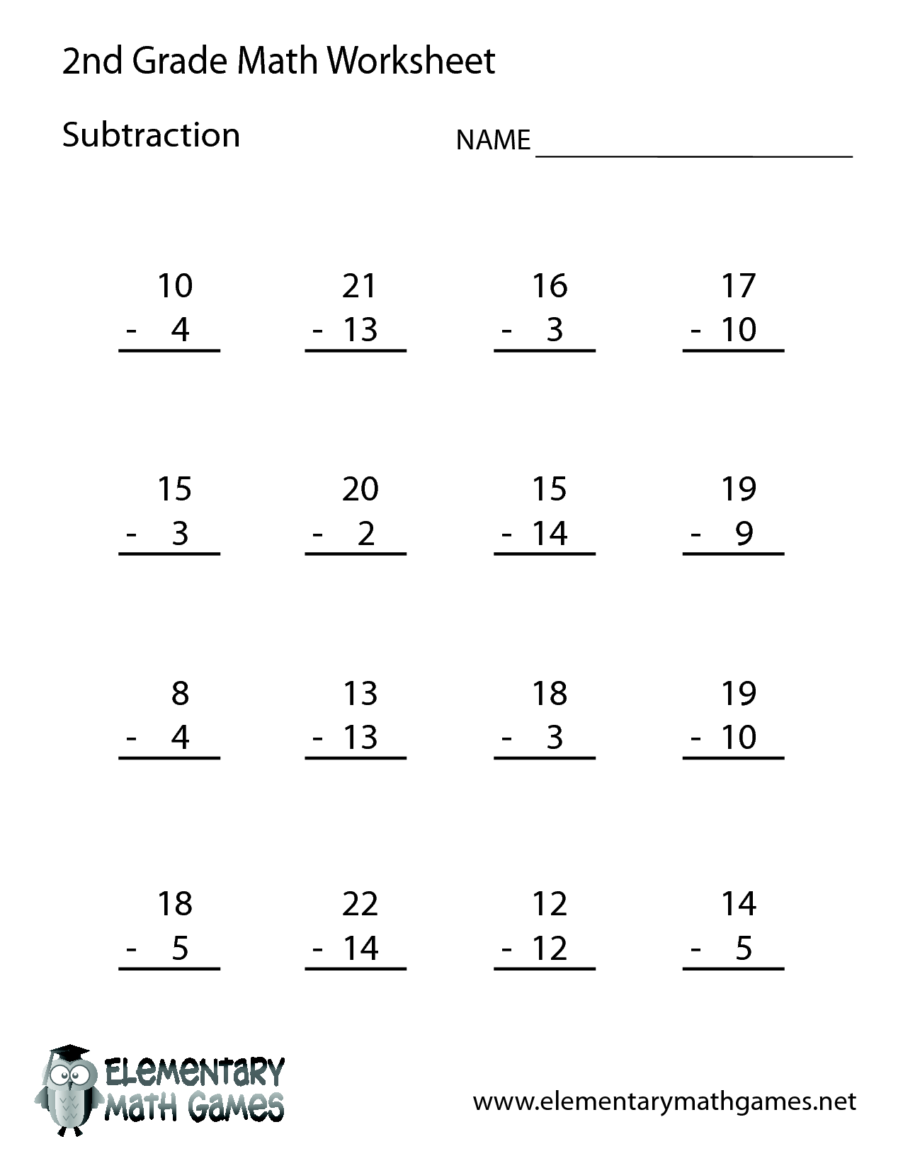 2nd Grade Worksheet Category Page 1