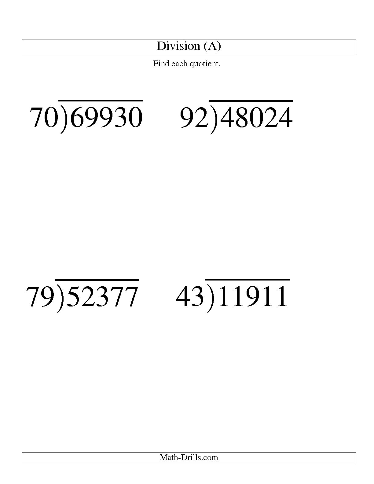 Division Worksheet 3 Digit By 2 Digit