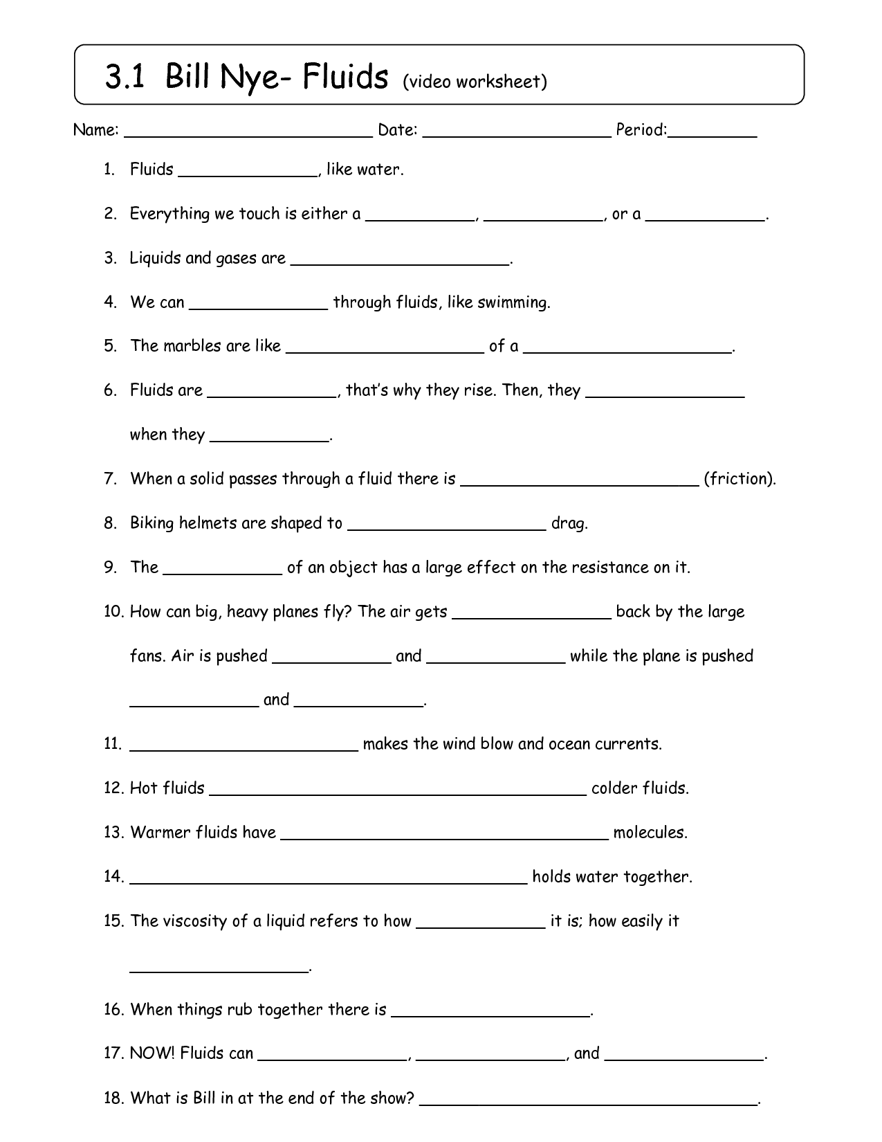 13 Best Images Of Bill Nye Gravity Worksheet