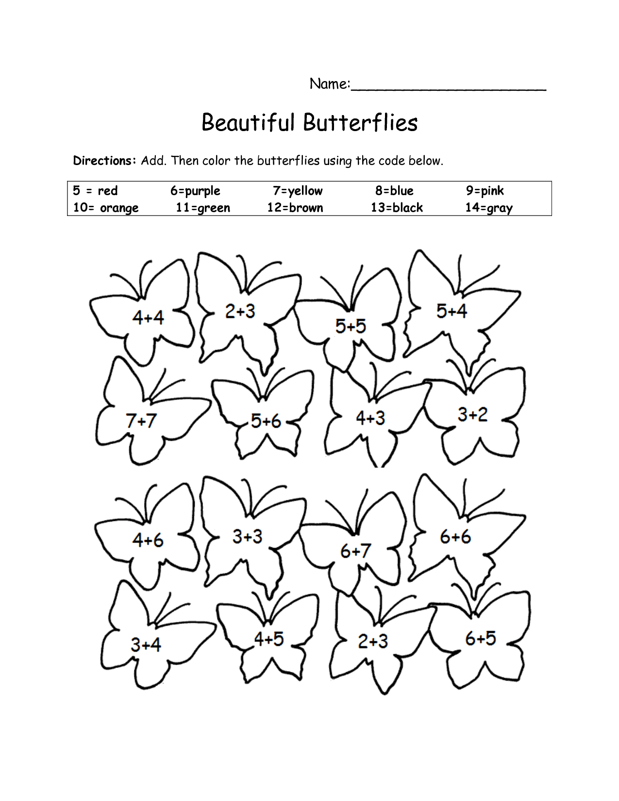 Butterfly Addition Worksheet