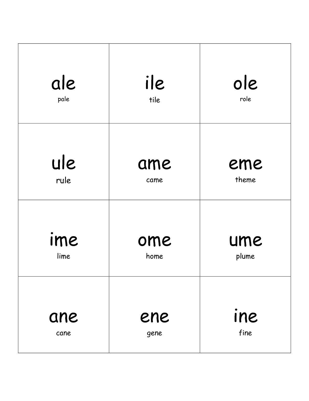 Free Silent E Worksheet
