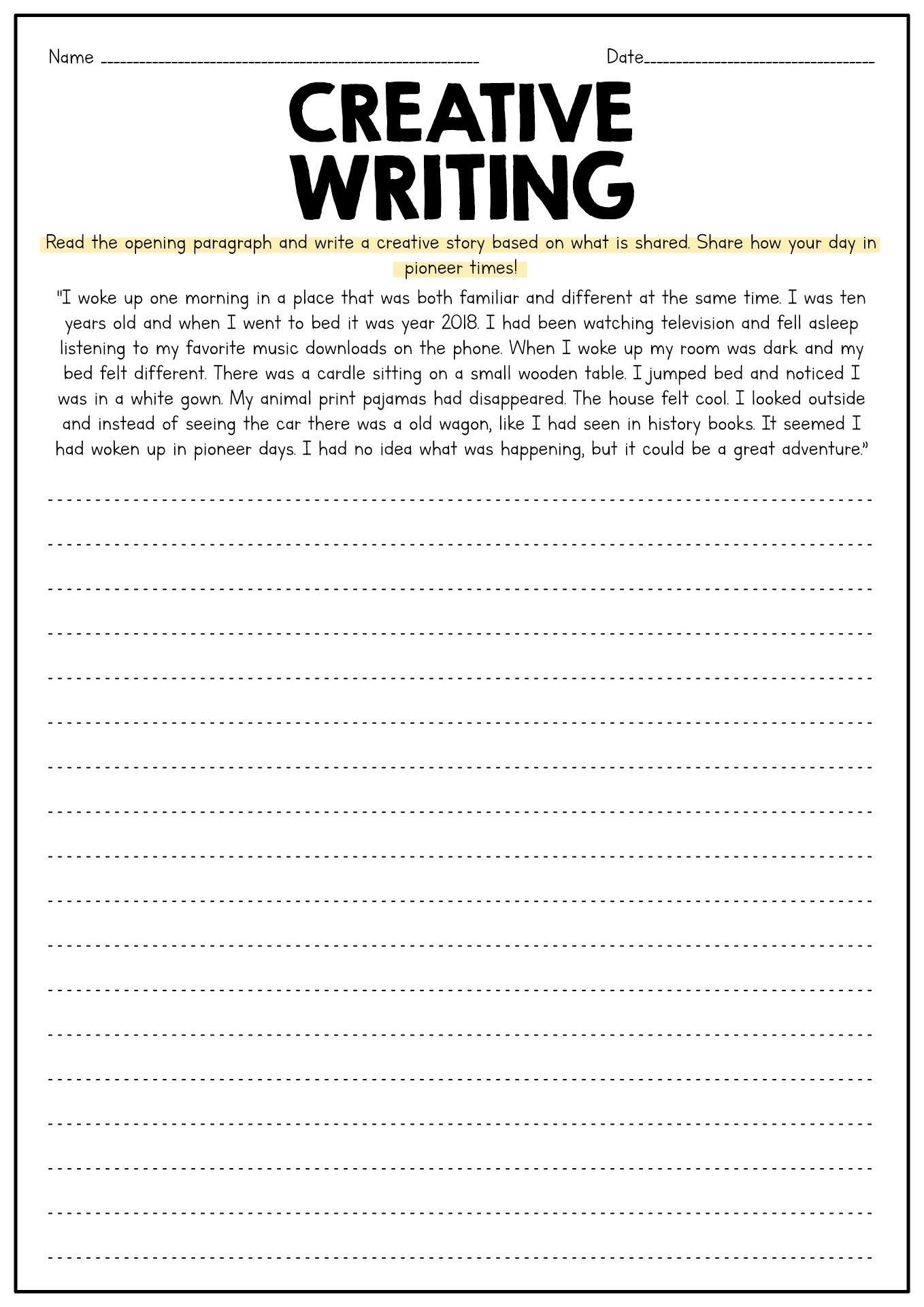English Creative Writing Worksheets For Grade 3