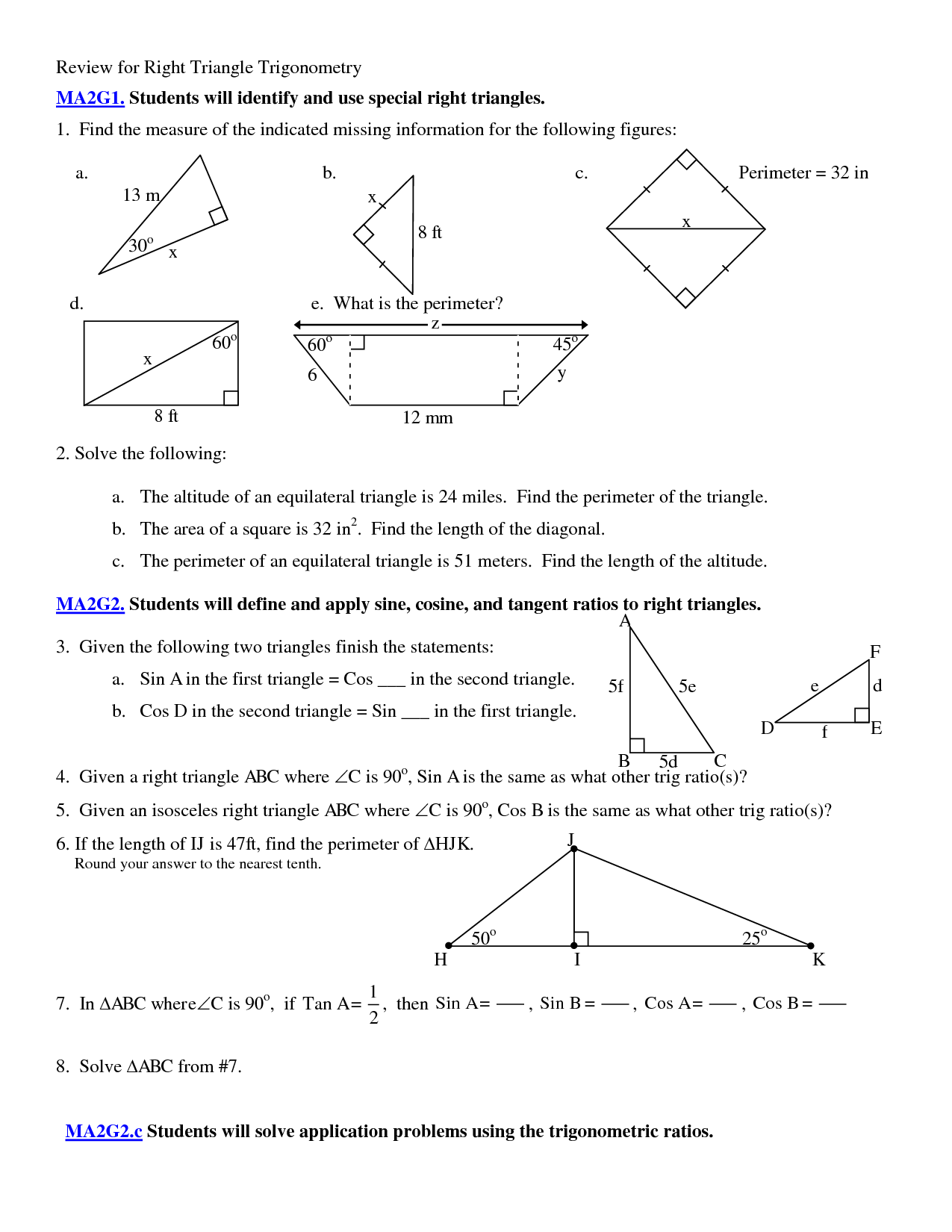 7 Best Images Of Right Angle Trigonometry Worksheet