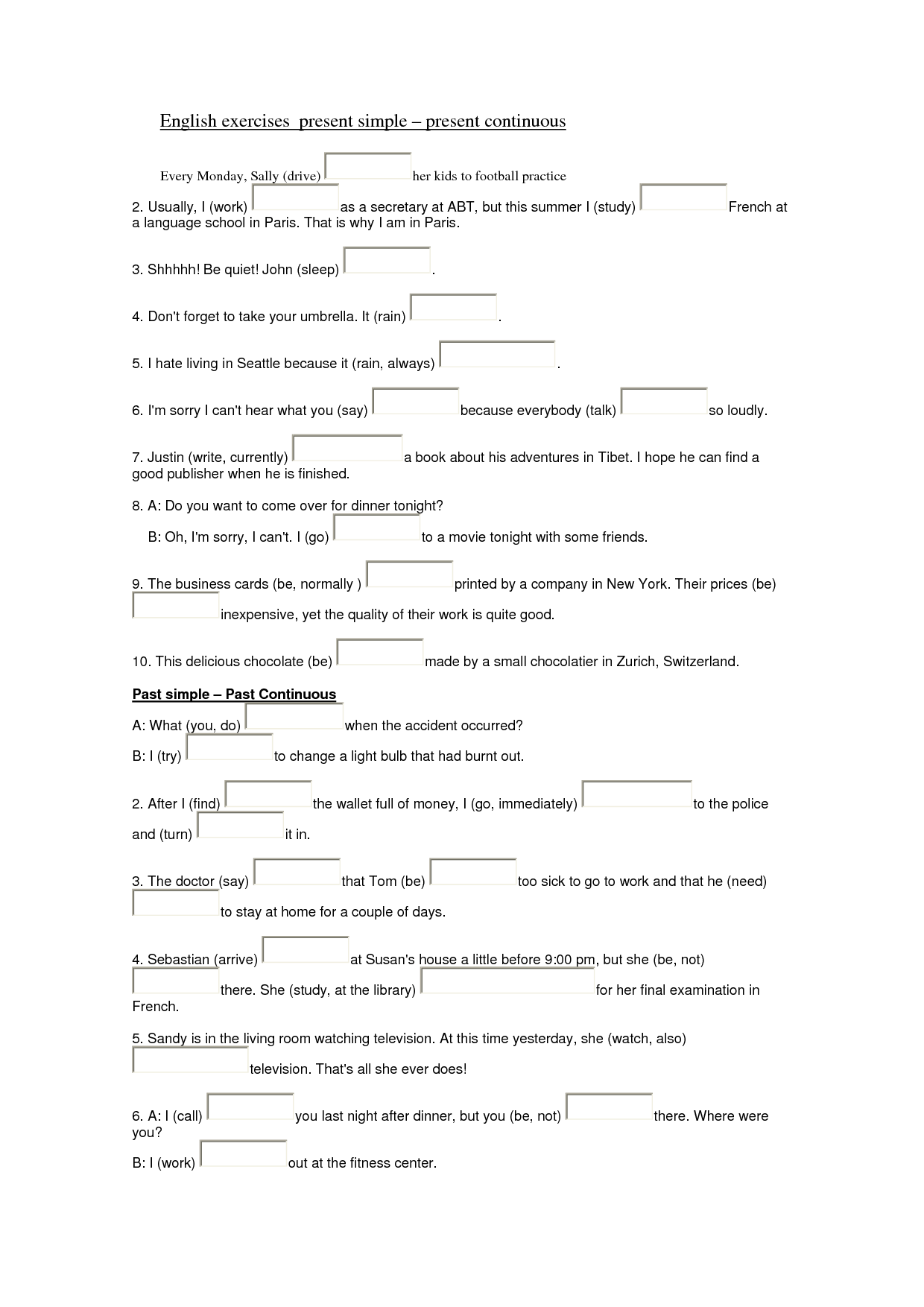 9 Best Images Of Present Perfect Exercises Worksheet