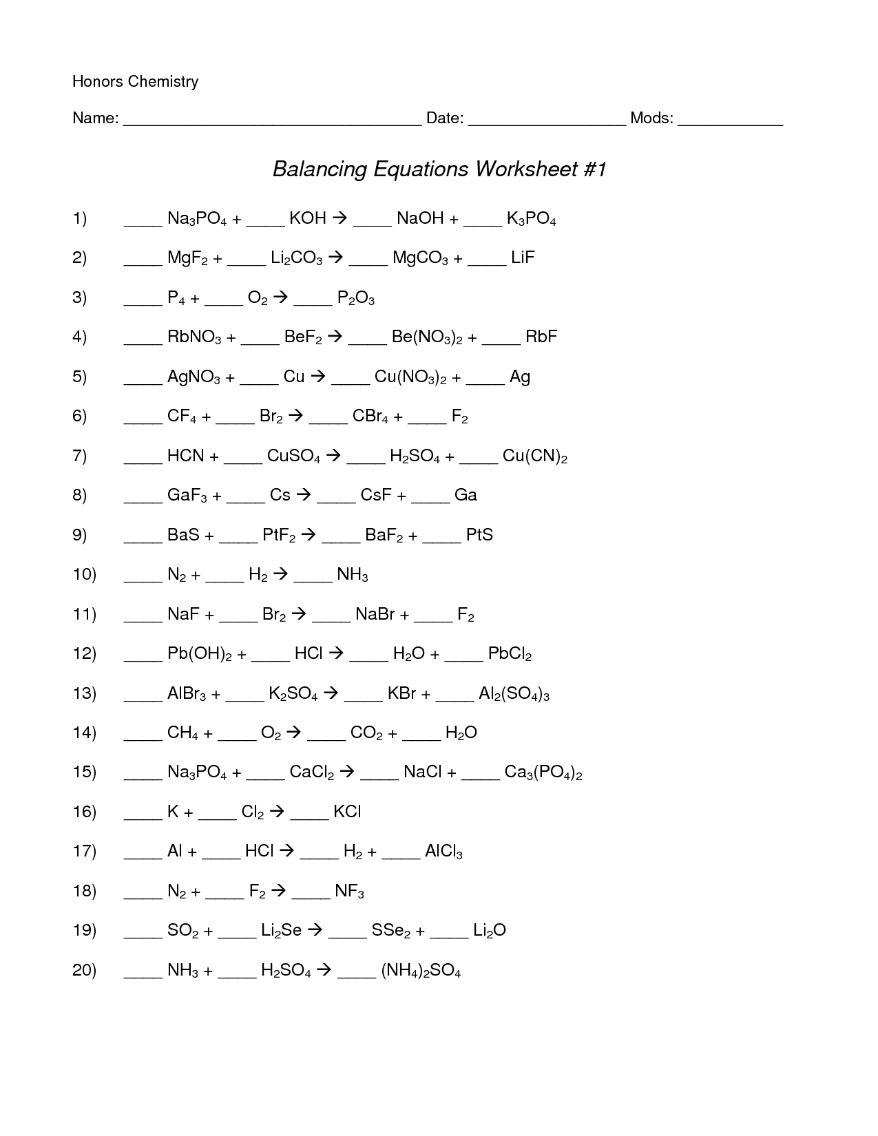 Chemistry Worksheet Balancing Chemical Equations
