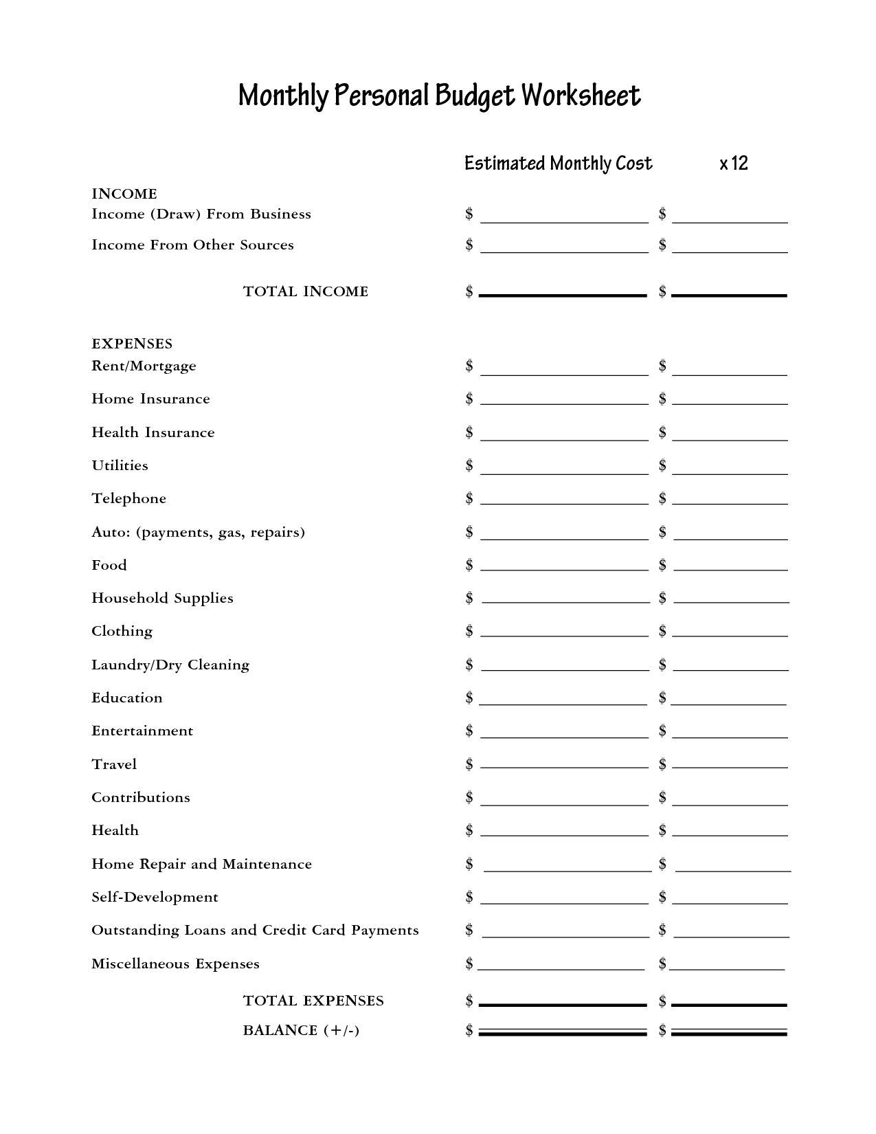 16 Best Images Of Budget Worksheet Monthly Bill