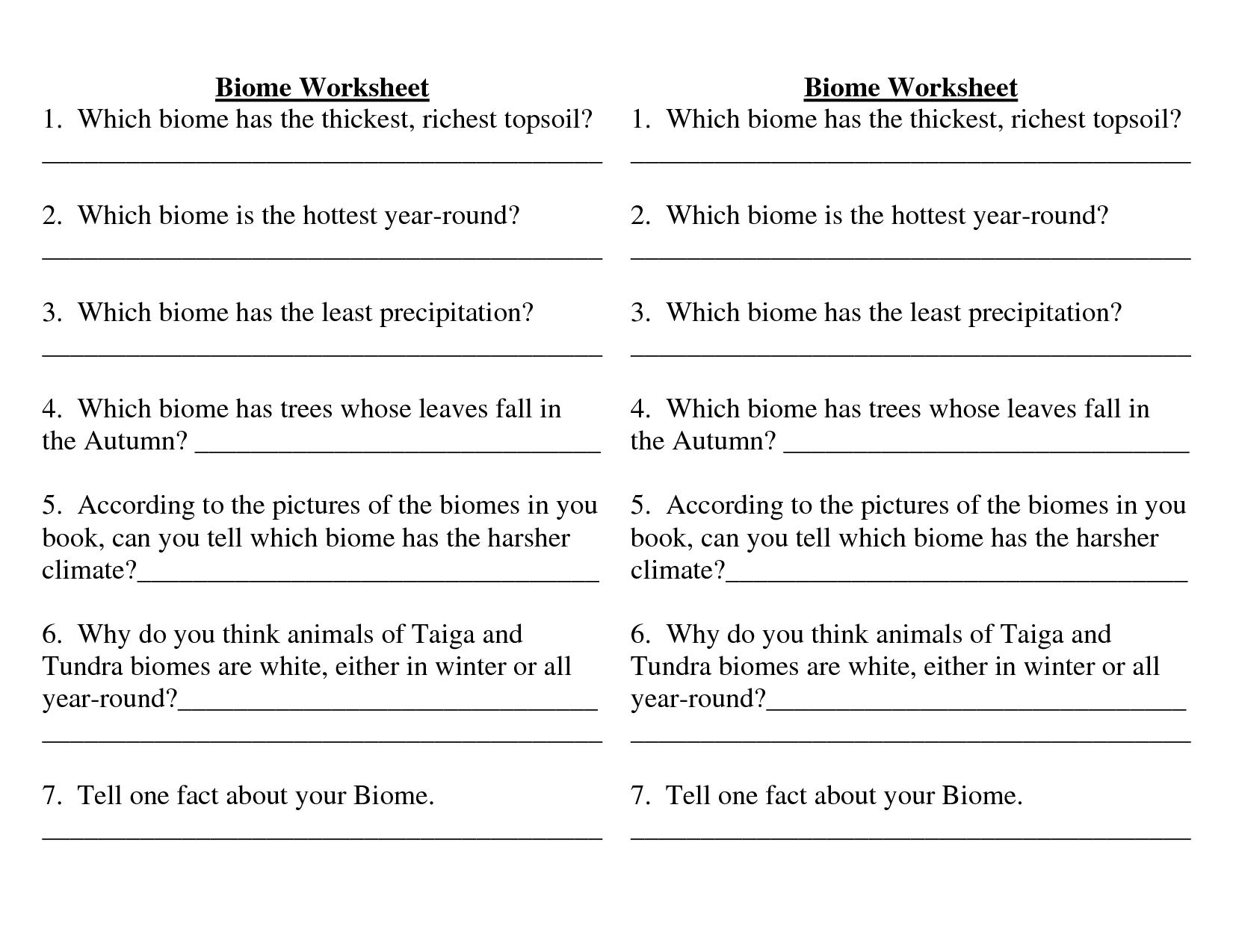 Identifying Biomes Worksheets