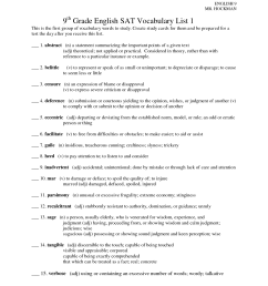 Vocabulary Worksheet Unit 9   Printable Worksheets and Activities for  Teachers [ 1650 x 1275 Pixel ]
