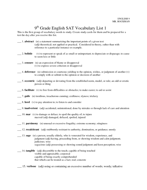 small resolution of Vocabulary Worksheet Unit 9   Printable Worksheets and Activities for  Teachers