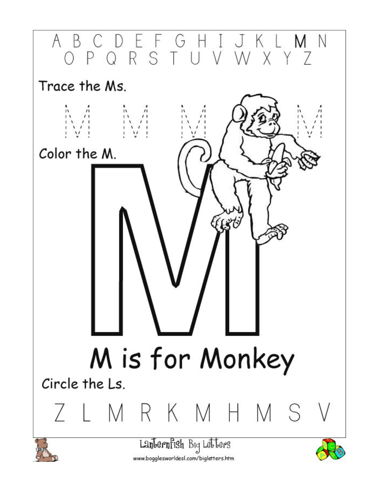 12 Best Images Of Letter M Worksheets