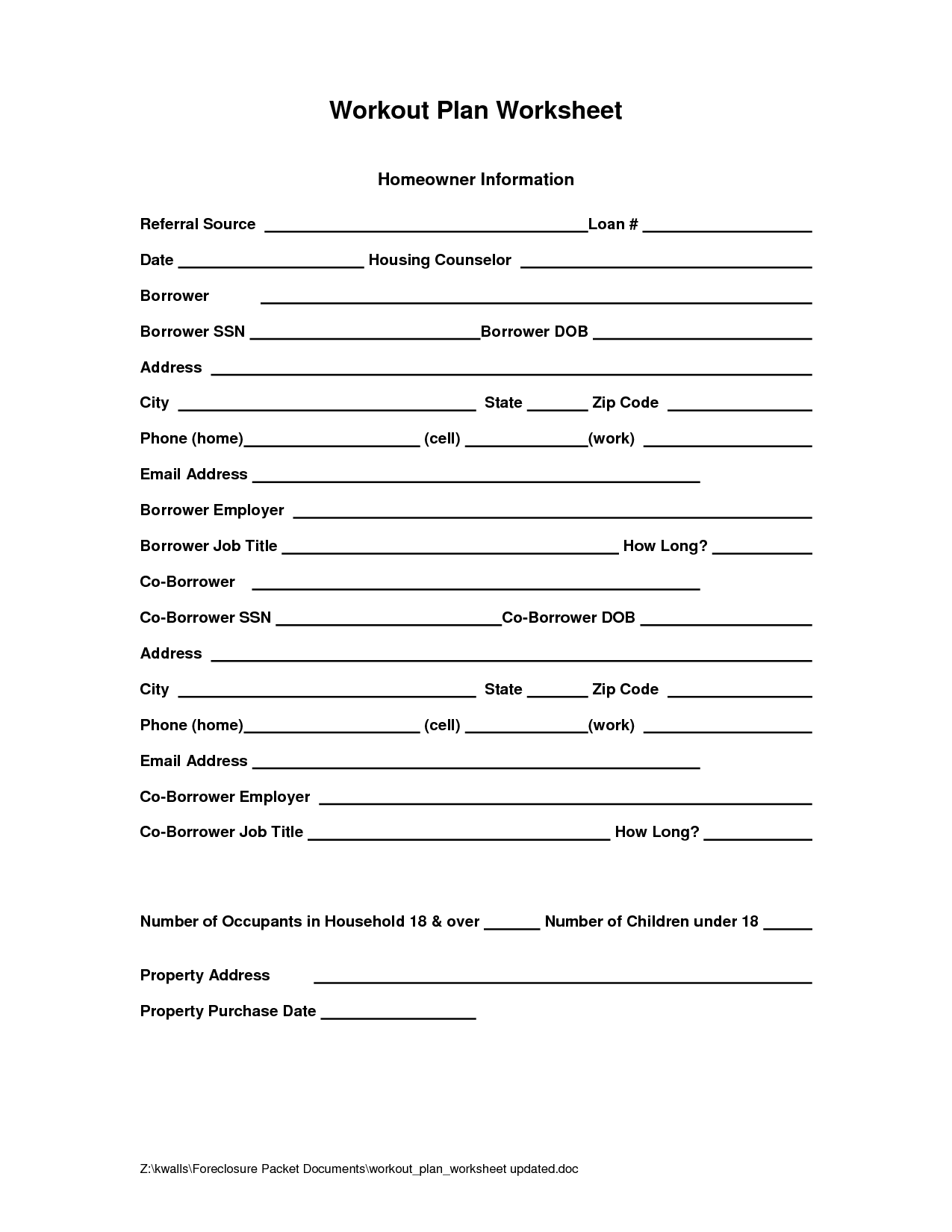 Worksheet For Grief