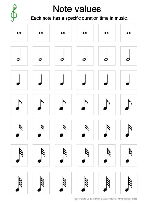 10 Best Images of Music Theory Worksheets Note Value