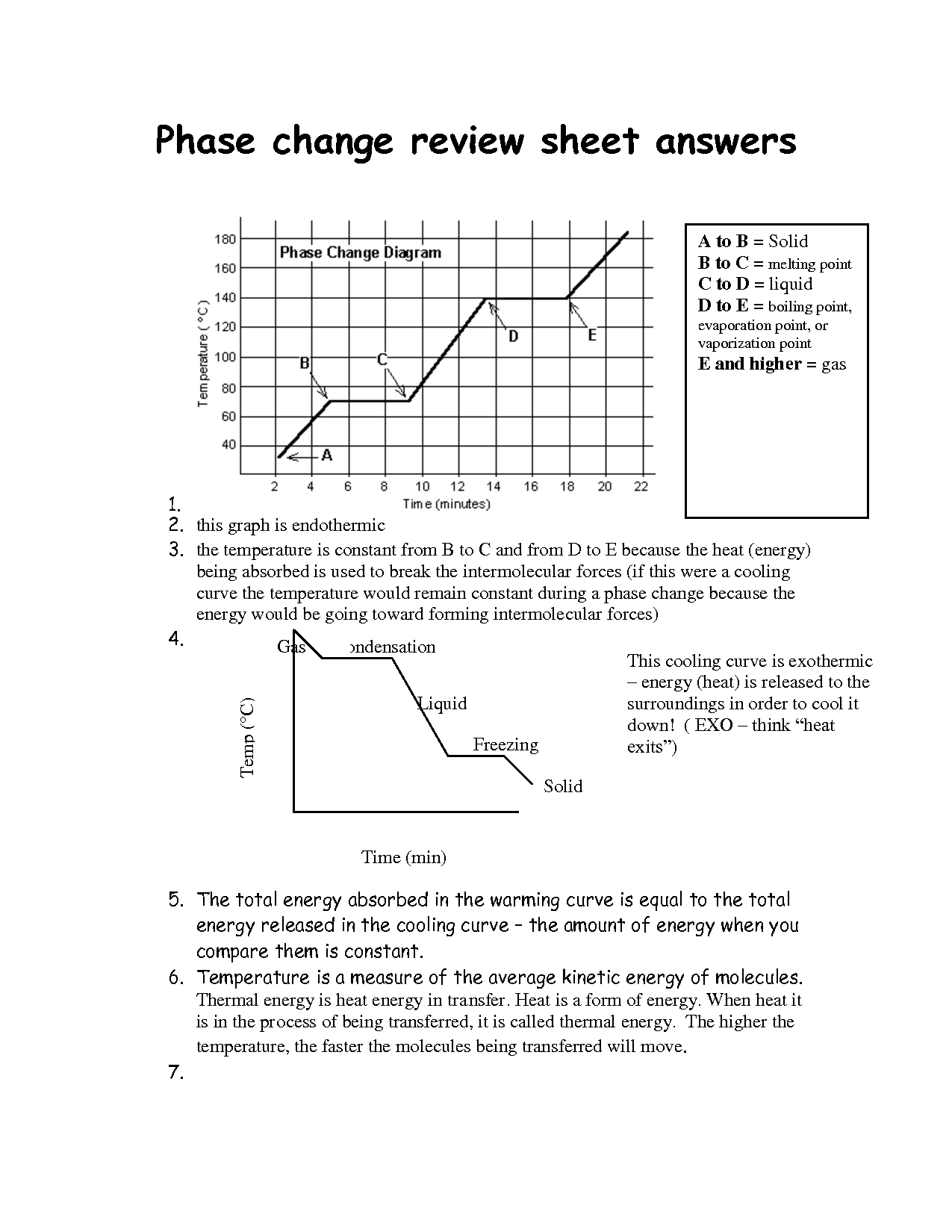 Heating Curve Worksheet Answer Key