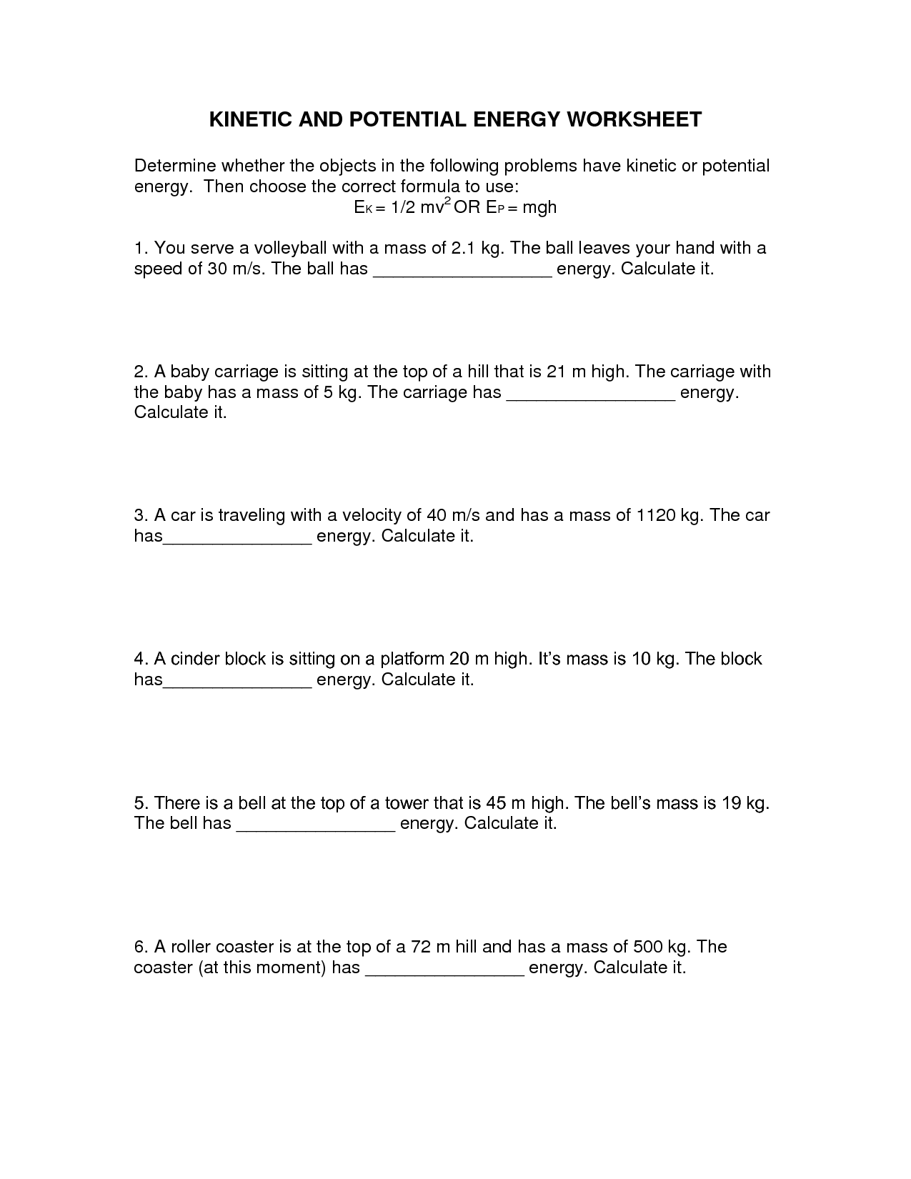 Kinetic Potential Energy Worksheet Answer Key