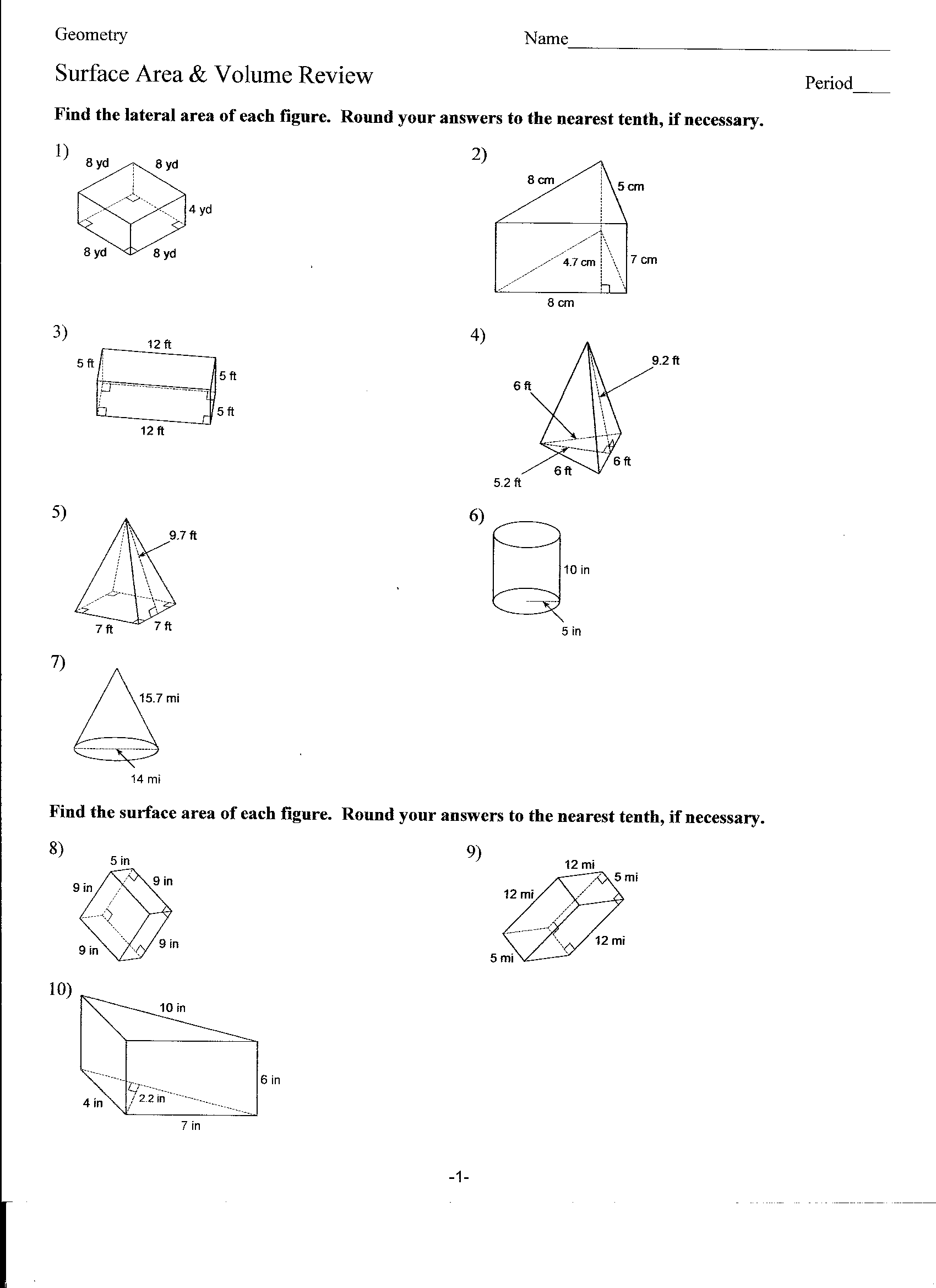 T Zoidal Prism Surface Area Worksheet