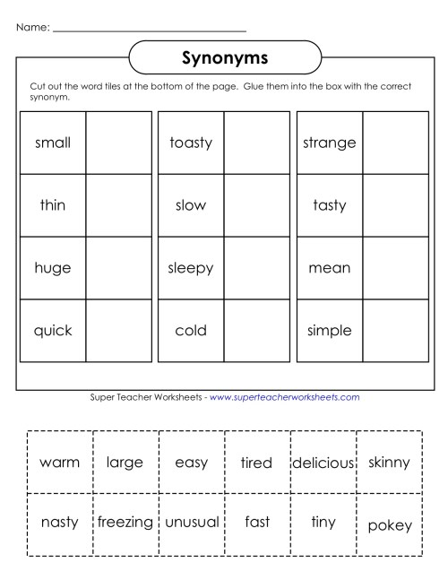 small resolution of Synonym Antonym Worksheet 2nd Grade   Printable Worksheets and Activities  for Teachers