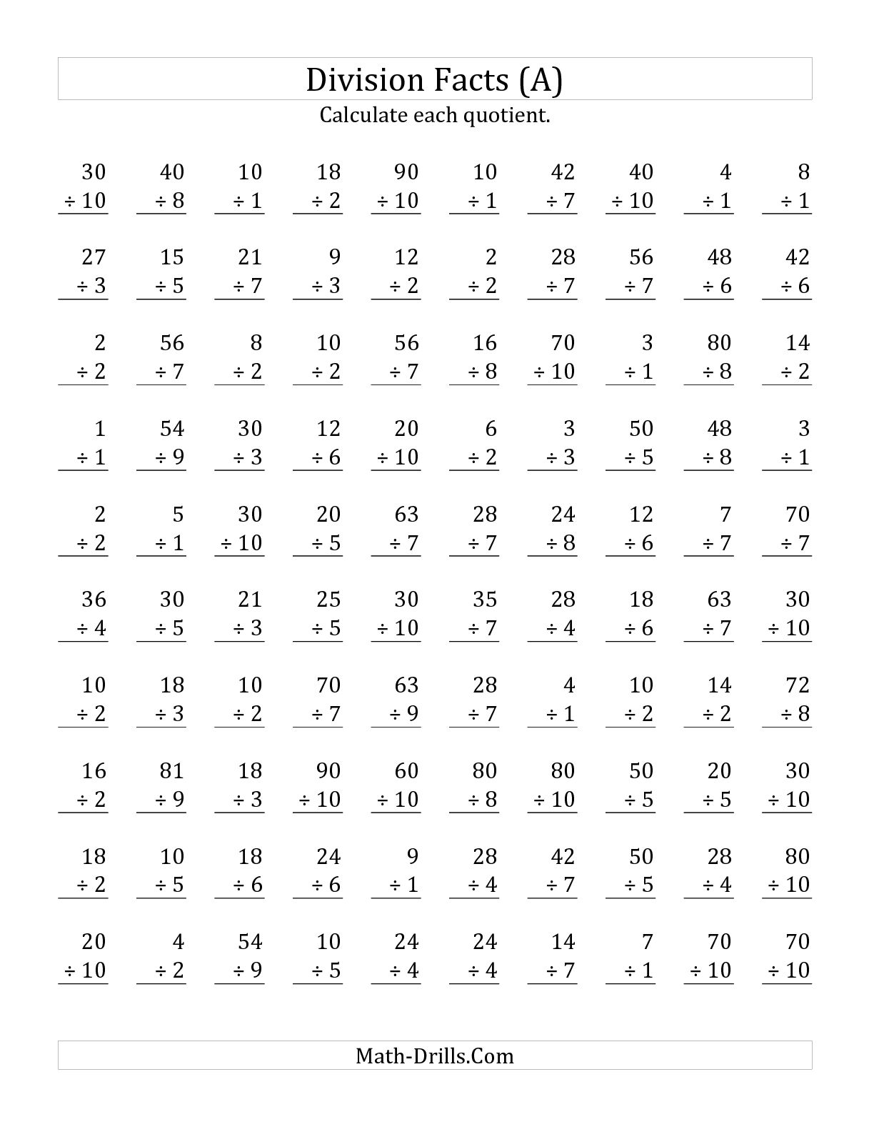 Math Aids Multiplication Worksheet 100 Problems