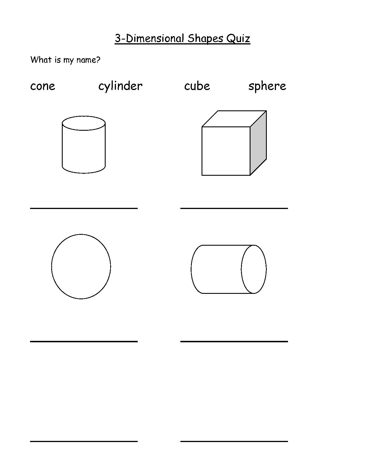 9 Best Images Of 3 Dimensional Shapes Worksheet First