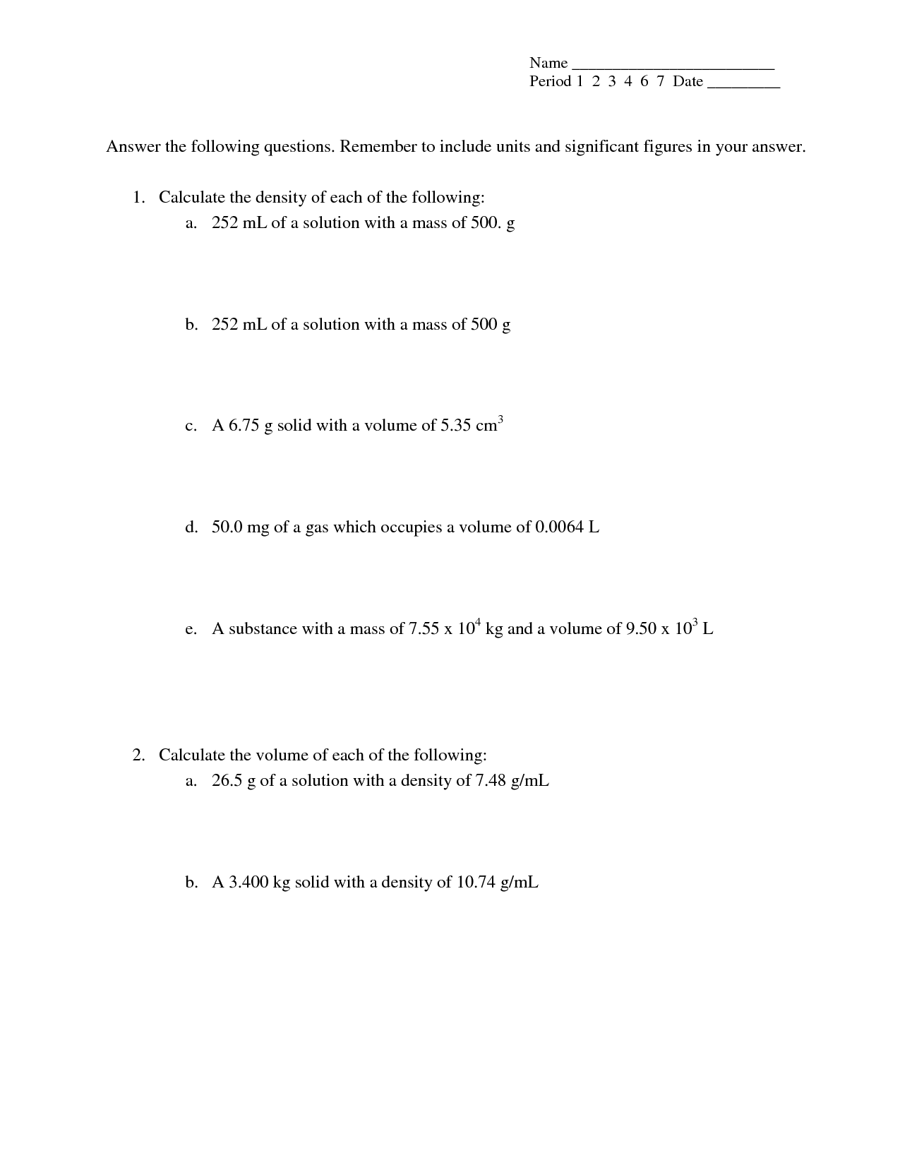 10 Best Images Of Density Worksheet Answers