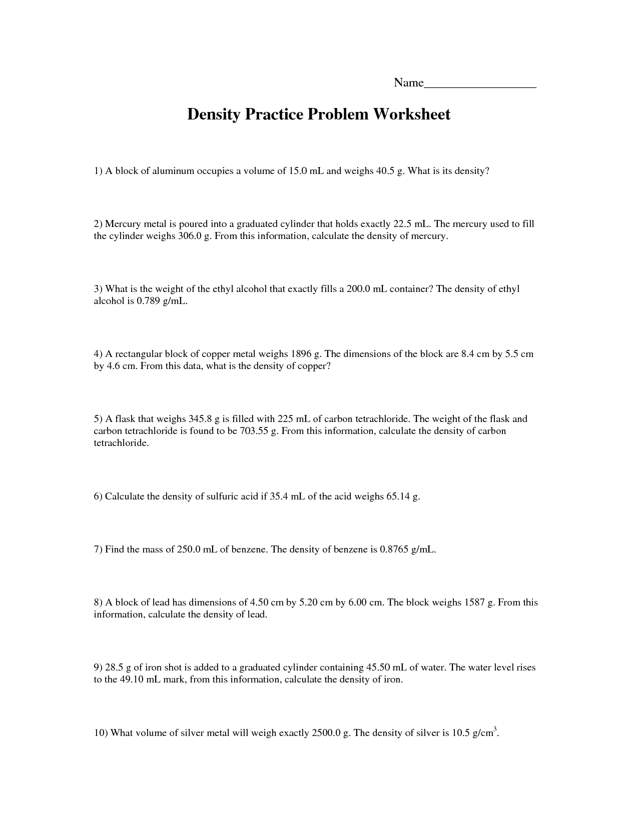 28 Density Practice Worksheet Answers
