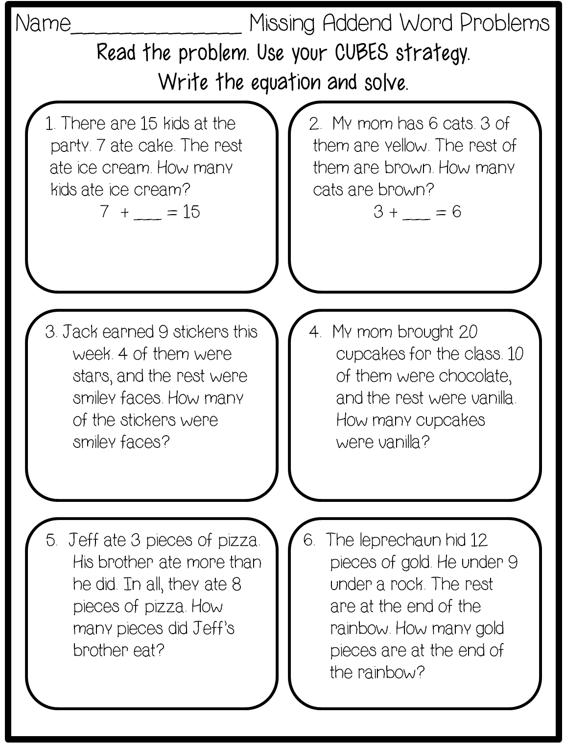 13 Best Images Of Missing Addends Word Problems Worksheets