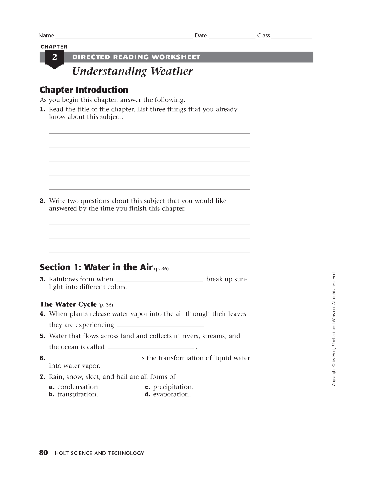 17 Best Images Of Holt Rinehart Winston Science Worksheets