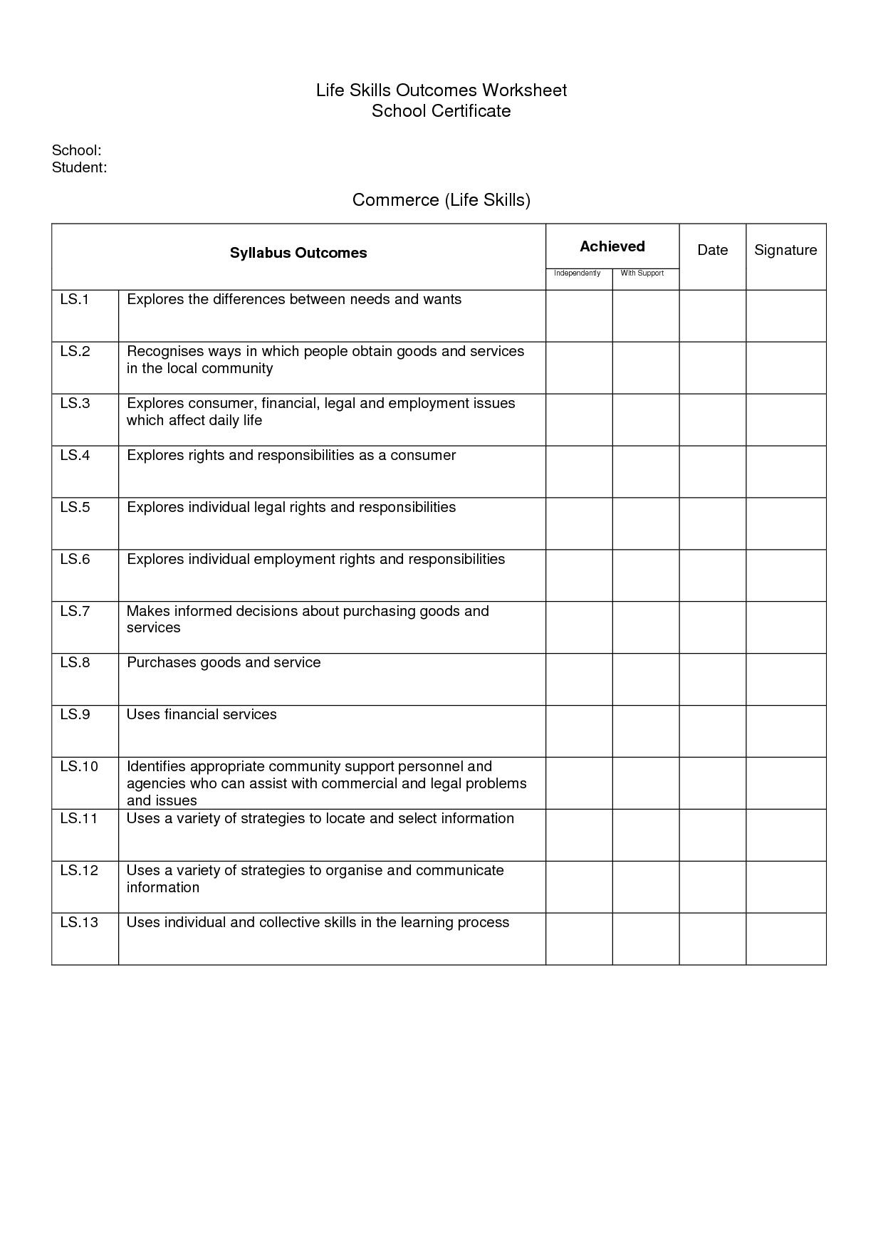 hight resolution of Free Independent Living Skills Worksheet   Printable Worksheets and  Activities for Teachers