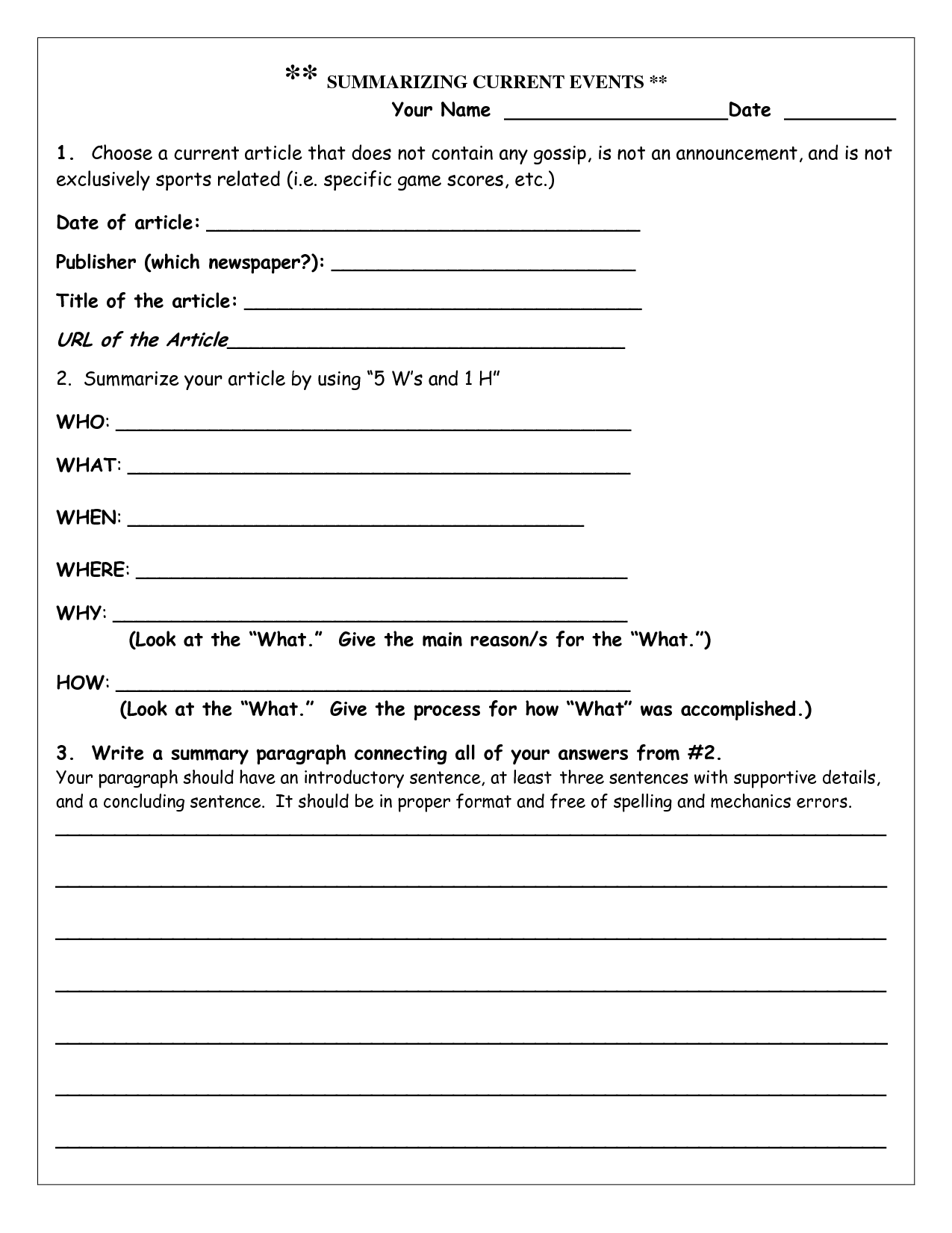 Printable Newspaper Worksheet