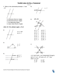 8 Best Images of Parallel Lines And Angles Worksheet