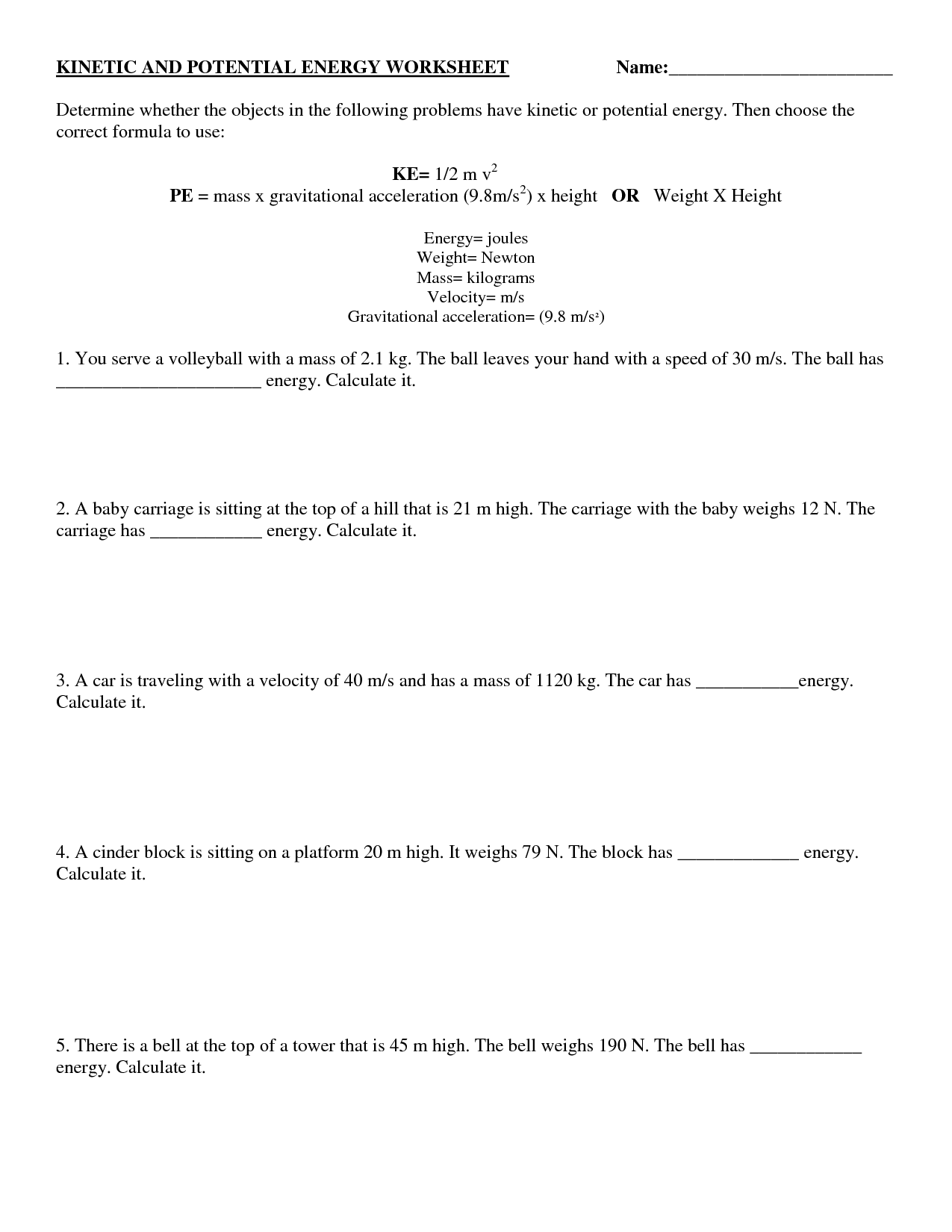 Worksheets Potential And Kinetic Energy Worksheet