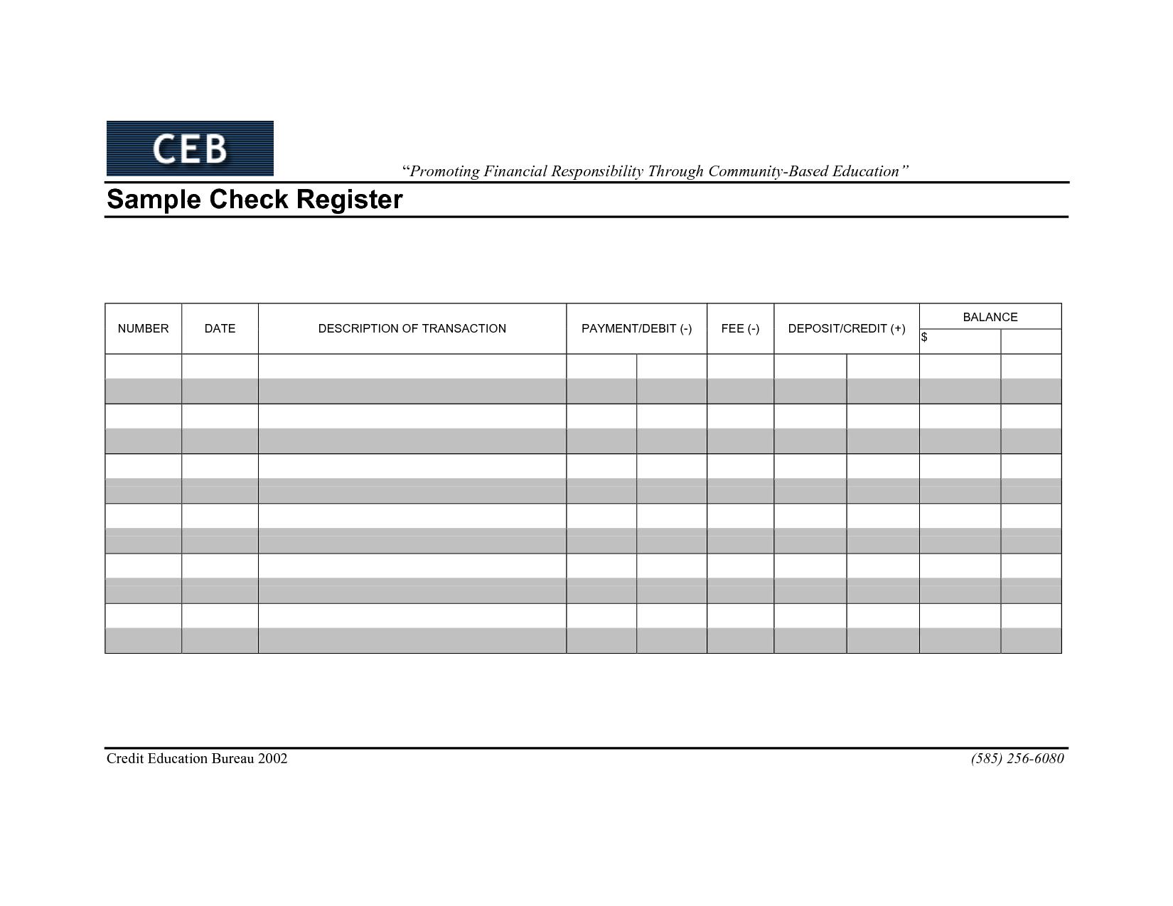 17 Best Images of Check Register Worksheet