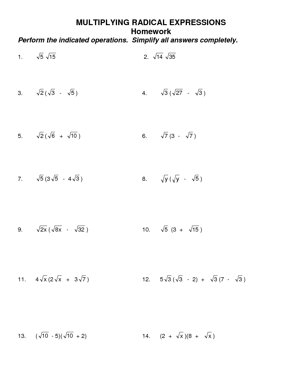 19 Best Images Of Simplifying Radicals Worksheet 1 Answers