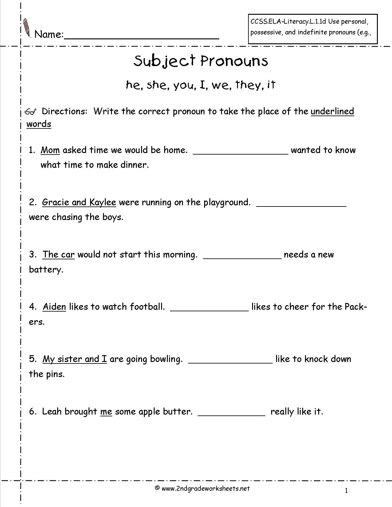 12 Best Images Of Nouns And Pronouns Worksheets Grade 2