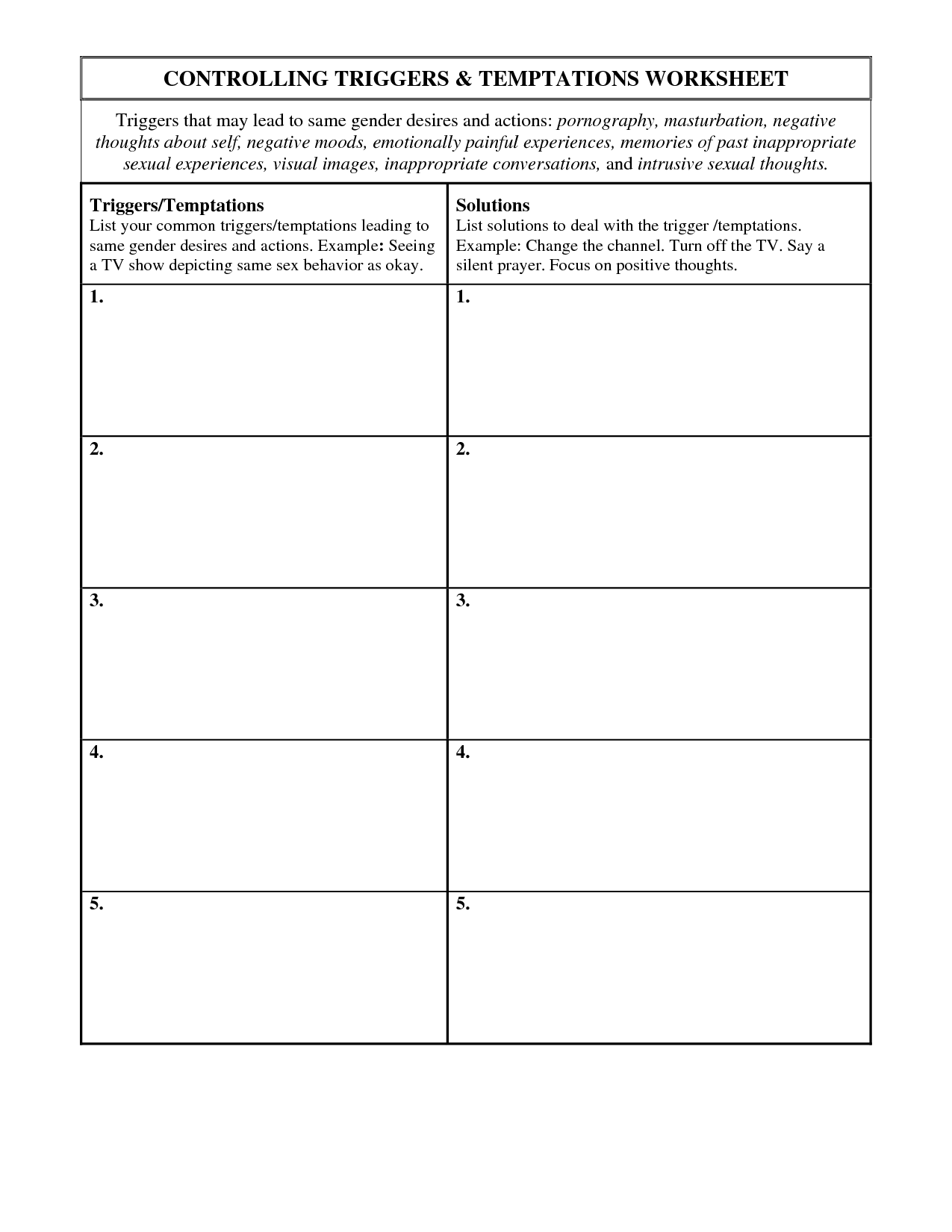 Hazelden 12 Step Worksheet Printable