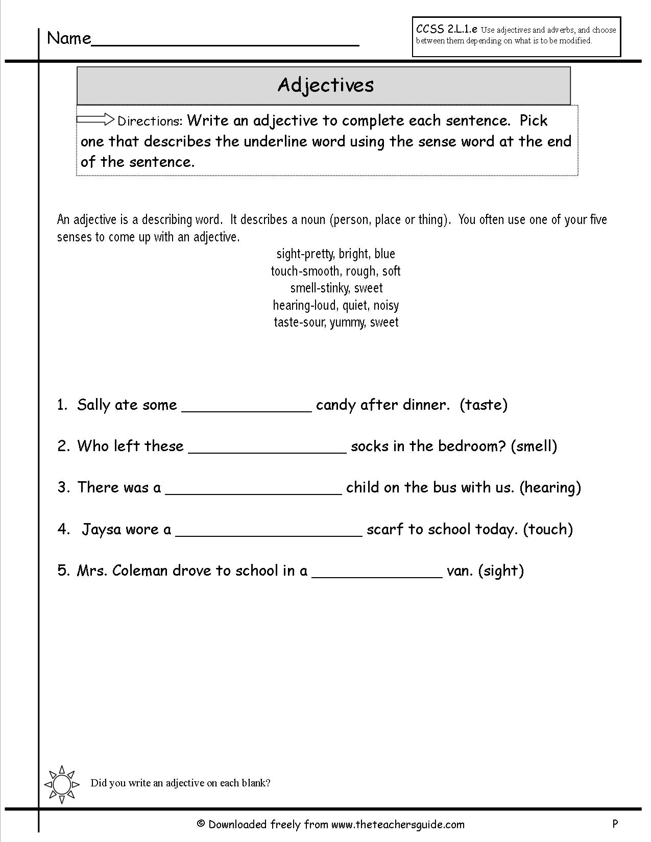 18 Best Images Of Articles And Adjectives Worksheets