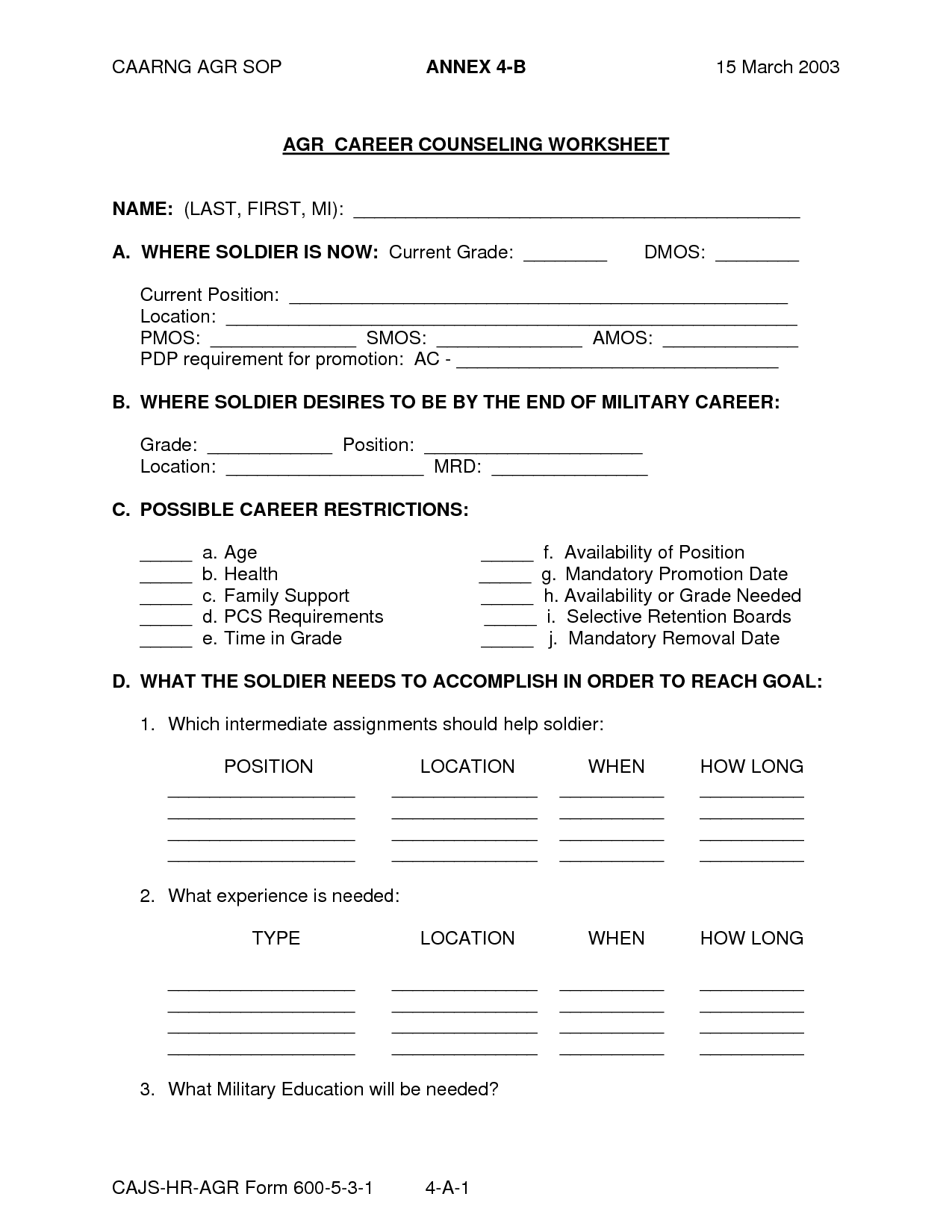 Academic Counseling Worksheet