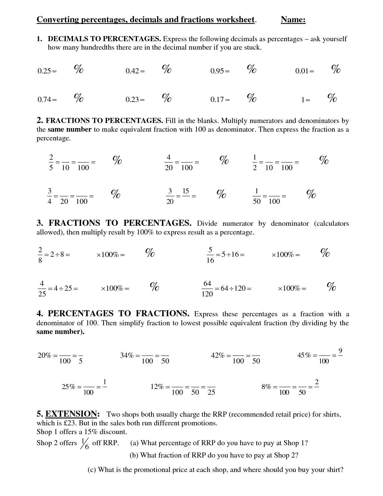 13 Best Images Of Converting To Percentages Worksheets