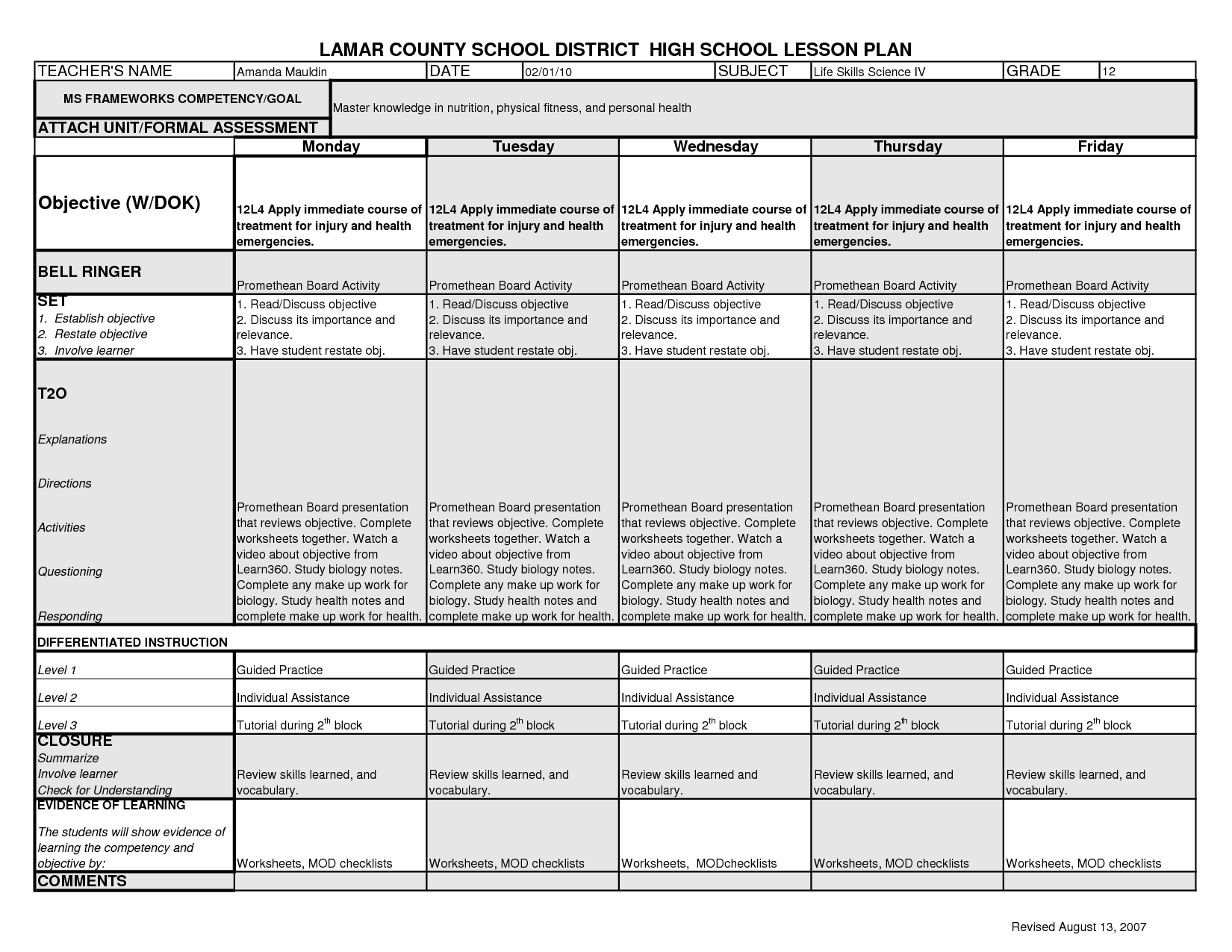 Nutrition And Health Worksheet