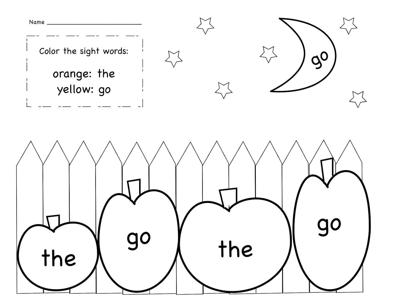 Thanksgiving Sight Word Sheet Coloring Pages
