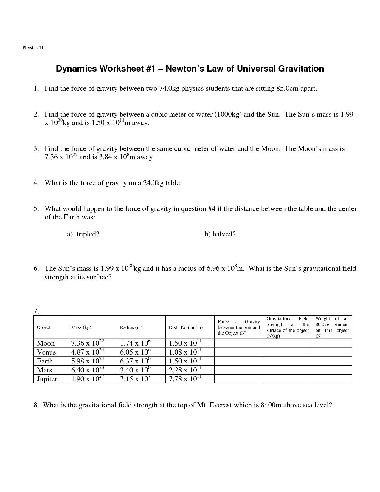 Law Of Universal Gravitation Worksheet Answers