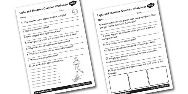 14 Best Images of Worksheets For First Grade Lights
