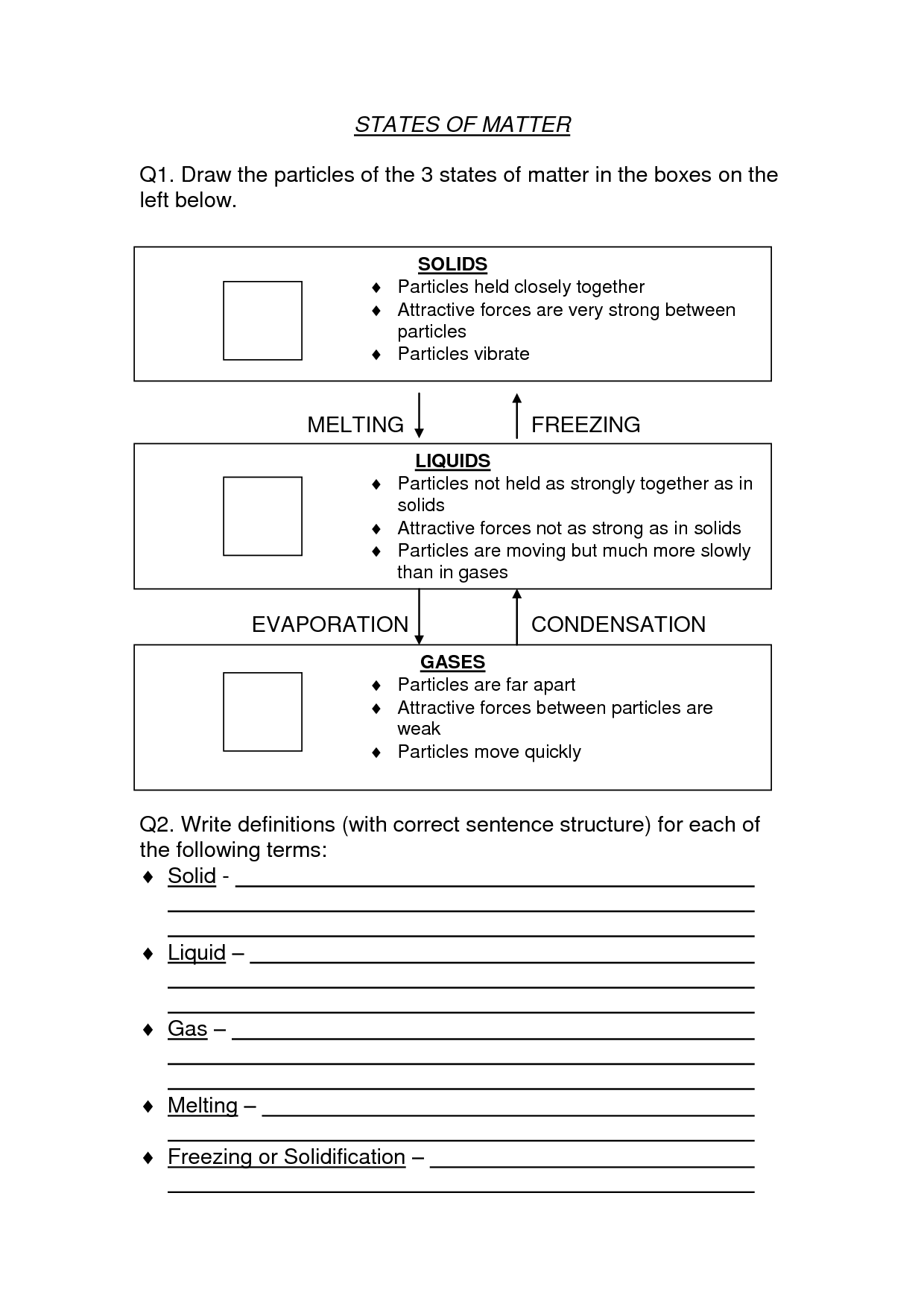 Worksheet Science Matter