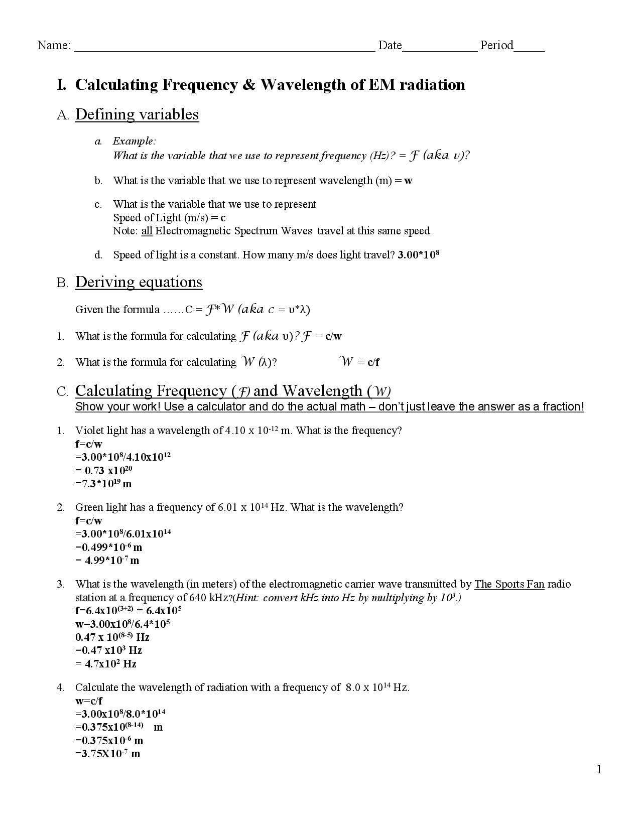 16 Best Images Of Wave Worksheet 1 Answer Key