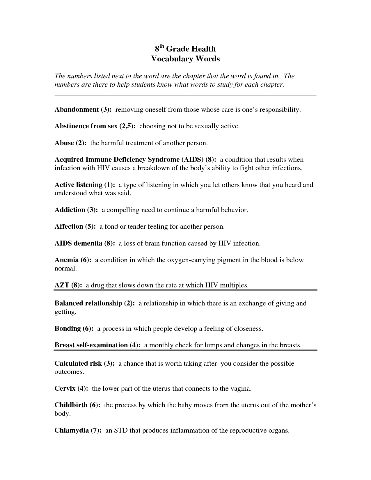 7th Grade Science Worksheet