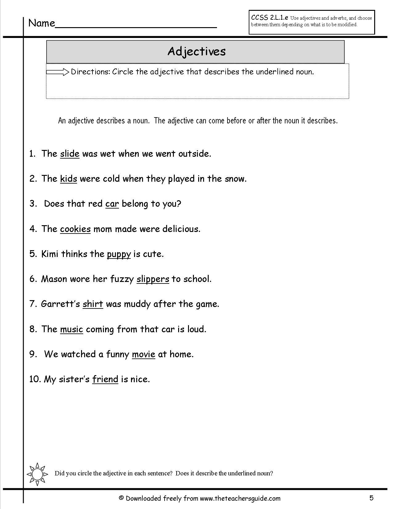 14 Best Images Of Descriptive Adjectives Worksheet