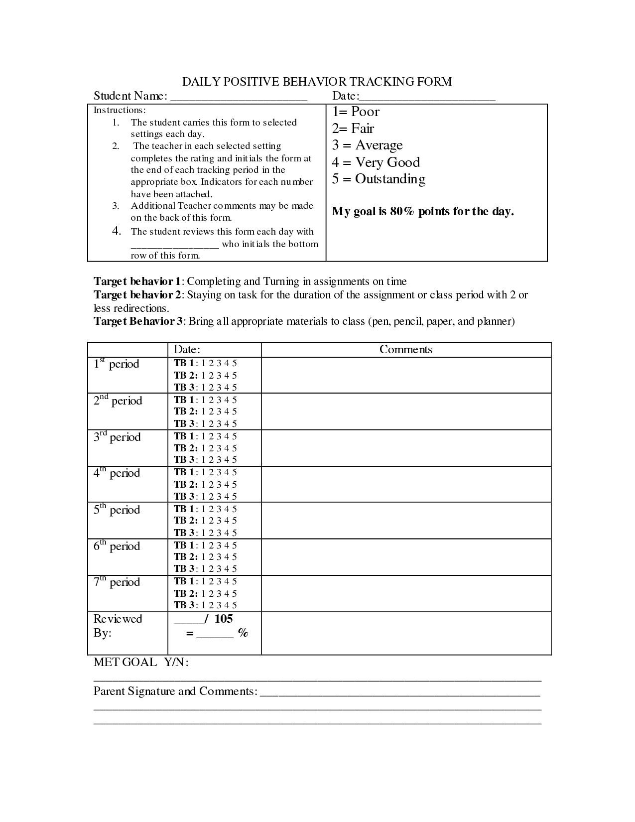 Student Tracking Worksheet